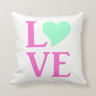 Love Pink And Mint Celebration Party Throw Pillow