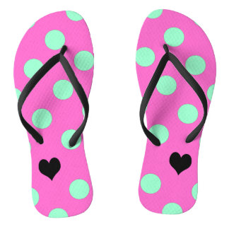 Love Pink And Mint Polka Dot Flip Flops