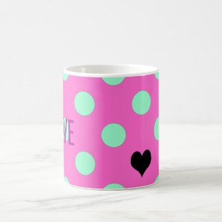 Love Pink And Mint Polka Dots Party Favor Mug