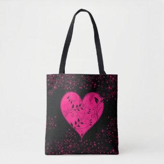 Love Pink & Black Filigree Vines Swirls Heart Tote