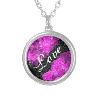 Love Pink Bubble Flower Necklace