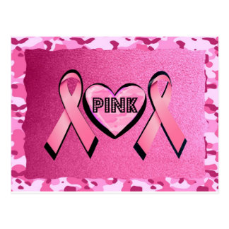 LOVE PINK CAMO AND PINK RIBBONS POSTCARD