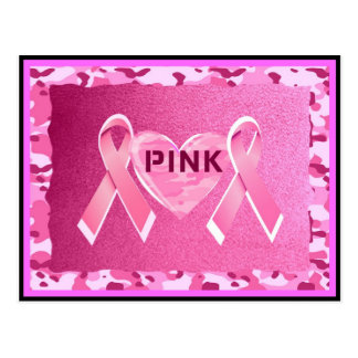 LOVE PINK CAMO RIBBONS AND HEART PRINT POSTCARDS