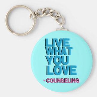 Love Pink Counseling Gifts Basic Round Button Key Ring