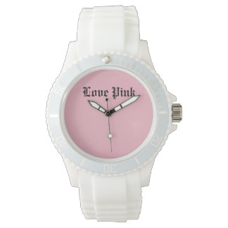 Love Pink Custom Sporty White Silicon Watch
