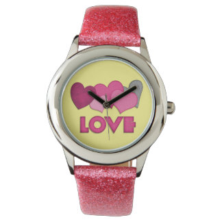 """Love"" Pink Glitter Strap Watch"