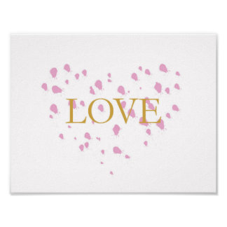 LOVE - pink, gold - inspirational quote Poster