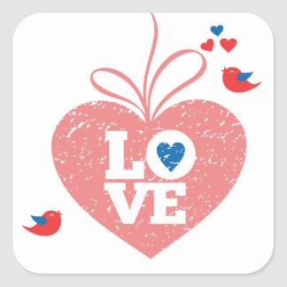 Love Pink Grunge Heart With Lovebirds Stickers