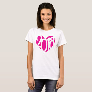 love pink heart 2018 graphic number ladies t-shirt
