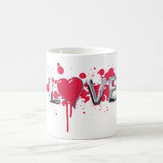 love pink heart basic white mug