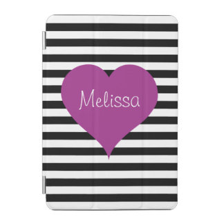 LOVE Pink Heart Black & White Stripes Pattern Name iPad Mini Cover