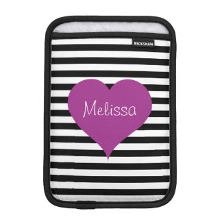 LOVE Pink Heart Black & White Stripes Pattern Name iPad Mini Sleeve