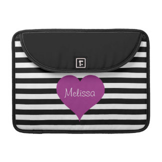 LOVE Pink Heart Black & White Stripes Pattern Name Sleeve For MacBook Pro