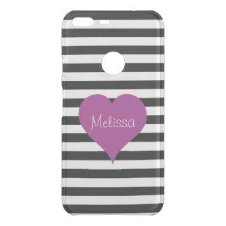 LOVE Pink Heart Black & White Stripes Pattern Name Uncommon Google Pixel XL Case