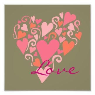 Love Pink Hearts Arrangement on Green Background Photo Print