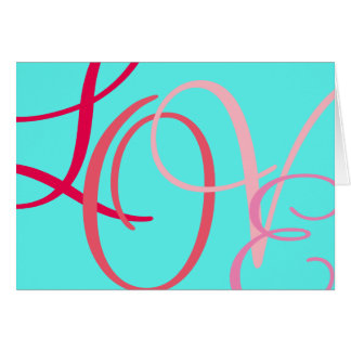 Love Pink Letters on Aqua Card