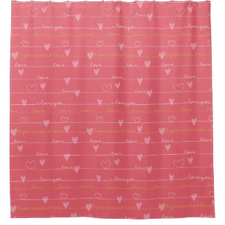 Love pink romantic shower curtain