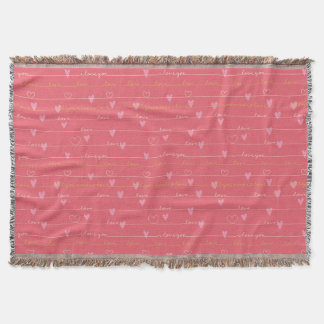 Love pink romantic throw blanket