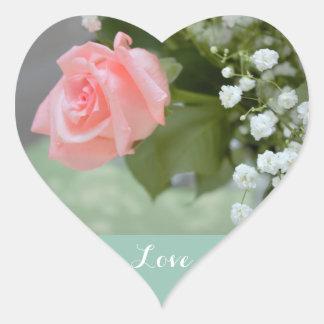 Love Pink Rose Photo Heart Sticker