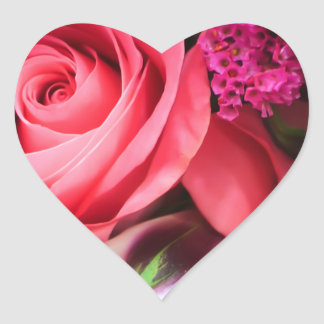Love Pink Roses and Flowers Heart Sticker
