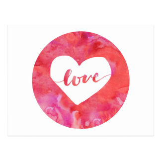 Love Pink Watercolor Heart Postcard