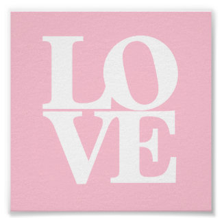 Love pink white nursery poster