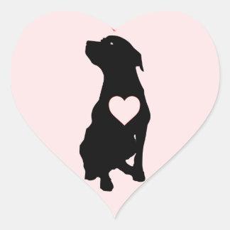 Love Pitbulls Pink Heart Stickers