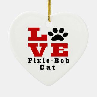 Love Pixie-Bob Cat Designes Ceramic Heart Decoration