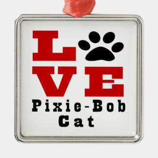 Love Pixie-Bob Cat Designes Silver-Colored Square Decoration