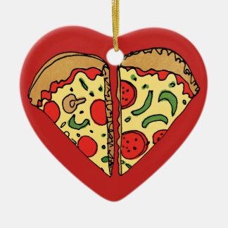 Love Pizza Add Names Ceramic Ornament