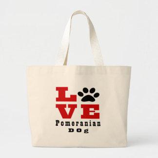 Love Pomeranian Dog Designes Large Tote Bag