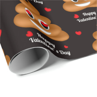 Love poop emoji Valentine's day wrapping paper
