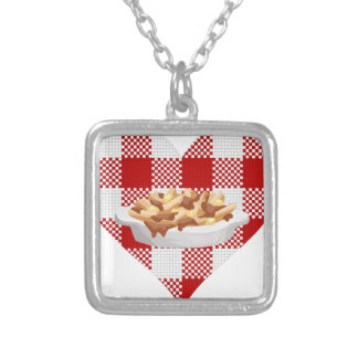 love poutine silver plated necklace