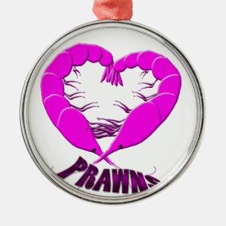 love prawns Silver-Colored round decoration