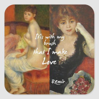 Love principal source in Renoir's masterpieces Square Sticker