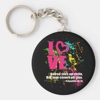 Love Proverbs Bible Verse Neon Paint Splatter Basic Round Button Key Ring