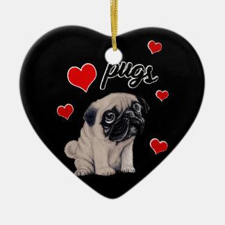 Love pugs ceramic heart decoration