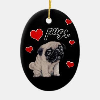 Love pugs ceramic oval decoration