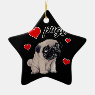 Love pugs ceramic star decoration