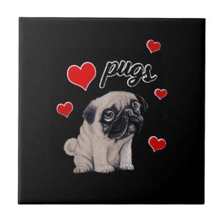 Love pugs ceramic tile