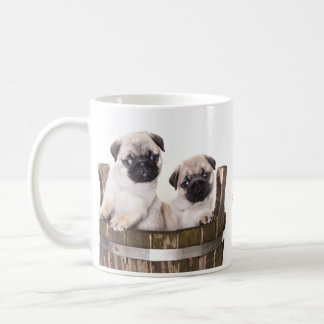 Love Pugs Puppy Dogs in Wooden Crate Barrel Coffee Coffee Mug
