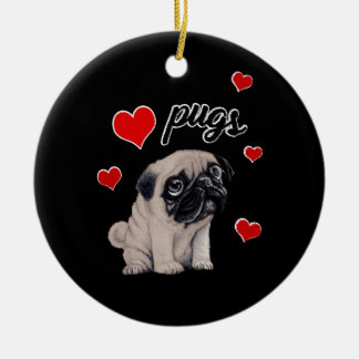 Love pugs round ceramic decoration