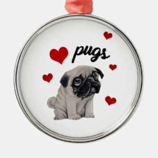 Love pugs Silver-Colored round decoration