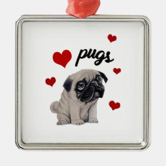 Love pugs Silver-Colored square decoration