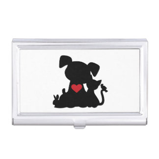 Love Puppy and Kitten Silhouette Case For Business Cards