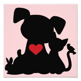 Love Puppy and Kitten Silhouette Pink Photograph