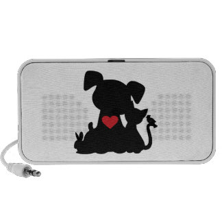 Love Puppy and Kitten Silhouette Travel Speakers