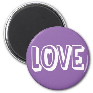 Love Purple And White - Wedding, Bridal Shower 6 Cm Round Magnet