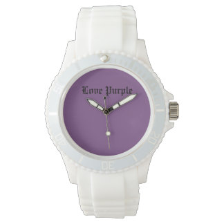 Love Purple Custom Sporty White Silicon Watch
