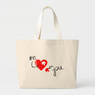 Love puzzle large tote bag